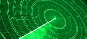 Green military radar screen close up